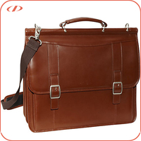 Classic style men's leather laptop briefcase