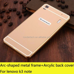 Aluminum bumper + back cover protective phone case for lenovo k3 note