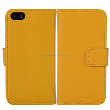 custom cheap fiber lining yellow shining pu leahter mobile phone cover for iphone 5 5S