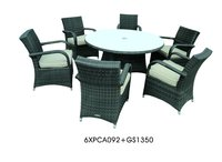 PVC Ratan Dining Set ( Round Table + 6pcs Chairs)