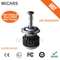2 side lighting 40w 4000lumen LED head light for car and motorcycle