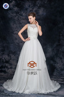 New Arrival SHMY-W0040 Chiffon Lace Appliqued Beaded Belt with Flowers Saudi Arabian Wedding Dress