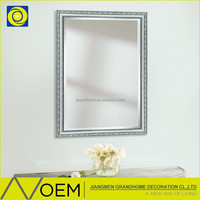 Square Design Wall bathroom Silver decorate wood mirror frame