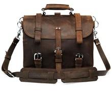 2014 Hot Sell Men Vintage Crazy Horse Leather Travel Dark Brown Big Messenger Bag #7072R