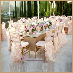 C009E fancy banquet blush baby pink organza ruffled wedding chair cover