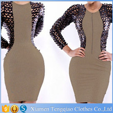 Alibaba 2015 Latest Middle Aged Women Leatherette Fishnet Fashion Bodycon Club Dress
