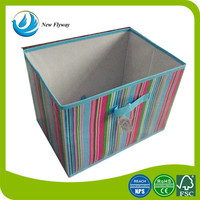 oblong striped printing cotton clothes storage box