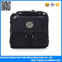 Black nylon washing casual messenger bag for women