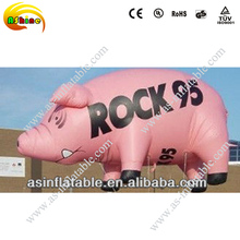 Cute and economic pink inflatable flying pig for advertising