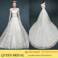 Newest Cap Sleeve Crystal Bare Back Cathedral/Royal Train Wedding Dresses in Turkey
