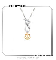 Gold tone silver god's love anchor infinity symbol necklace