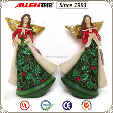 "11.4"" Christmas angel figurine, holly berry cutout pattern angel statue"
