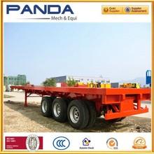 Pandamech three axle flatbed semi trailer platform trailer trailer truck price with leaf spring suspension