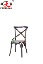 metal material bar chair, HOT sell industrial metal bar chair with any color, cross back bar chair with leather cushion