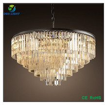 large iron ring glass crystal chandelier with edison bulbs for hotel decoration