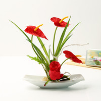fashion red artificial anthurium flowers false water potted silk flowers wholesale artificial flowers for wedding free shipping
