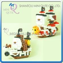 Mini Qute ATOM 2 styles Amine One piece Thousand Sunny ship diamond nano plastic building blocks cartoon model educational toy