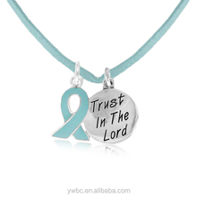 Hot sale A Teal Awareness Ribbon and Engraved letter Trust in the lord circle pendant cord Necklace