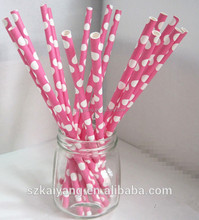 Wholesale hot pink polka dotted drinking paper straws for christmas party favors