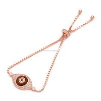 Wholesale Evil Eye Turkish Handmade Enamel Bracelet Adjustable Tennis Rose Gold Plated 925 Sterling Silver
