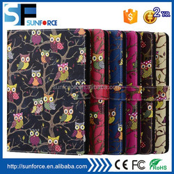 For ipad 6 faux leather magnetic owl pattern case with card slot