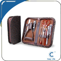 10In 1 With PU Leather Case Manicure Sets Wholesale Stainless Steel Nail Kit