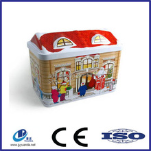 factory directly house shaped candy tin box/ christmas candy tin box