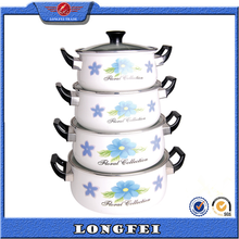 2015 hot selling 4PCS enamel cookware casserole with decal