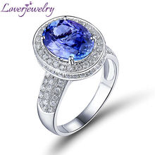 Genuine Natural AAA Tanzanite Ring With Diamond In 18K White Gold Oval 9x12mm SR329A