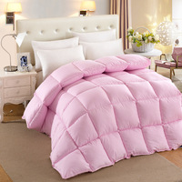 Pink Home Quilt Plain Cotton White Goose Down Quilts 2015 Double Bed Warm Quilts