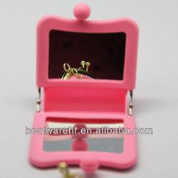 funny 2013 promotion girls gifts mini purse mirror.,Fashion Silicon ,Silicone Mirror Purse. makeup silicone mini mirror