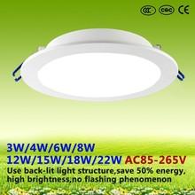 2015 new lightning products led back- light round embedded light 3W/4W/6W/8W/12W/15W/18W/22W led ceiling panel light