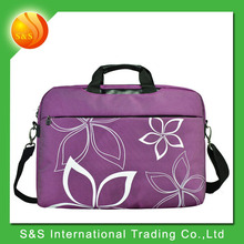 17 Inch Purple Contour Flowers Print Laptop Briefcase Messenger Shoulder Bag