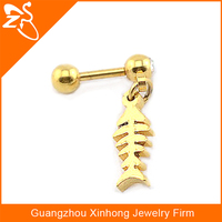 stainless steel stud earring, gold plated steel stud earring, daily wear dangle earrings with fish bones pendant