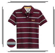 Man's fashion stripe polo t shirt factory OEM