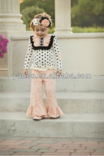 Highly Recommend Girls Style Suits Winter Festive Outfit Long Sleeve Polka Dots Top Lovely Ruffles Pants
