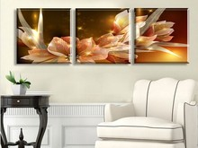 Free Shipping Canvas Painting Wealth and luxury golden flowers 3 Piece Art Cheap Picture Home Decor On Canvas Modern Wall Prints