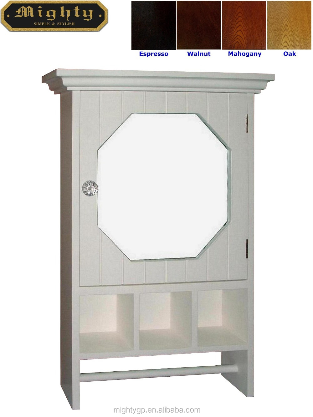 towel bar in white wooden white bath mirrored wall cabinet with towel