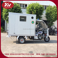 Fashion design custom white 3 wheel passenger motorized tricycle with closed carriage box
