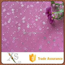 China Supplier Princess Dress Fabrics Foil Mesh Pink Bronzing Fabric