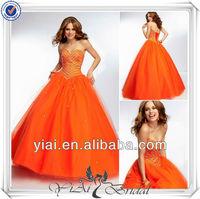 QQ567 Orange ball gown dress arabic dubai abaya kaftan style prom dress