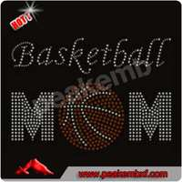 Hot Fix Rhinestone Basketball mom Heat Transfer for Clothes Decoration