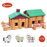 170pcs Farm And Shop Log Set Prefabricated Wooden House