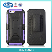 3 in 1 T line PC silicone slim armor belt clip mobile phone case for Iphone 6,kickstand case cover for Iphone 6