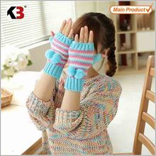 2015 Promotional wholesale soft acrylic gloves fingerless cotton knitted gloves for women