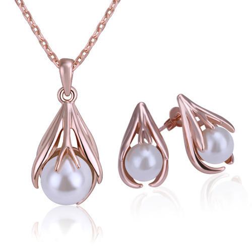 Мода 18k розовое золото высокого качества Перл набор подарок подруга 100% ручной сделал свадебных ювелирных изделий набор серьги + Колье