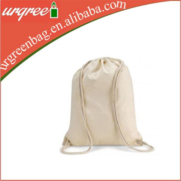 ผ้าฝ้ายธรรมชาติถุงกระเป๋าเป้สะพายหลังและธรรมชาติเย็บ