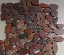 Red Flat-Split Pebble Tile(Ordinary Polished),Machine Pebble Stone