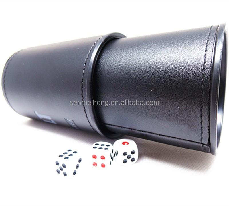 barato profissional casino empilhamento copo de dados couro