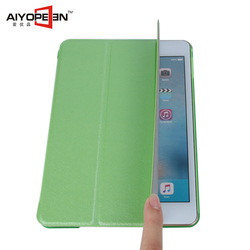 Hot Sales fashion Silk Pattern PU smart cover case for iPad mini 4 folded 3 styles ultra slim leather case